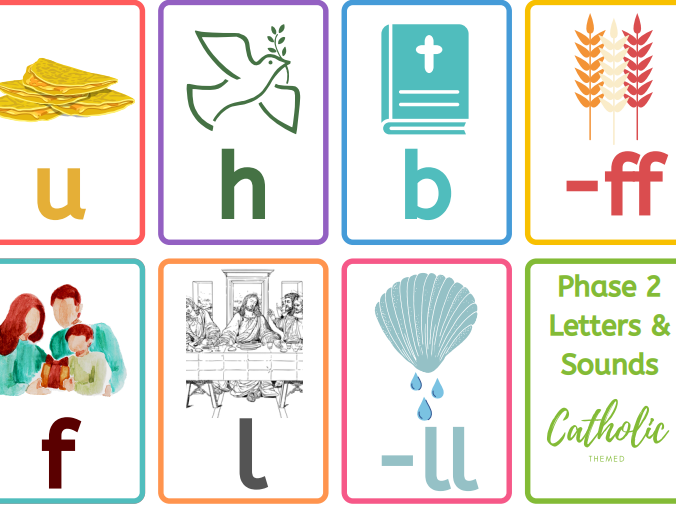 Phase 2 letters and sounds - Catholic-themed flashcards