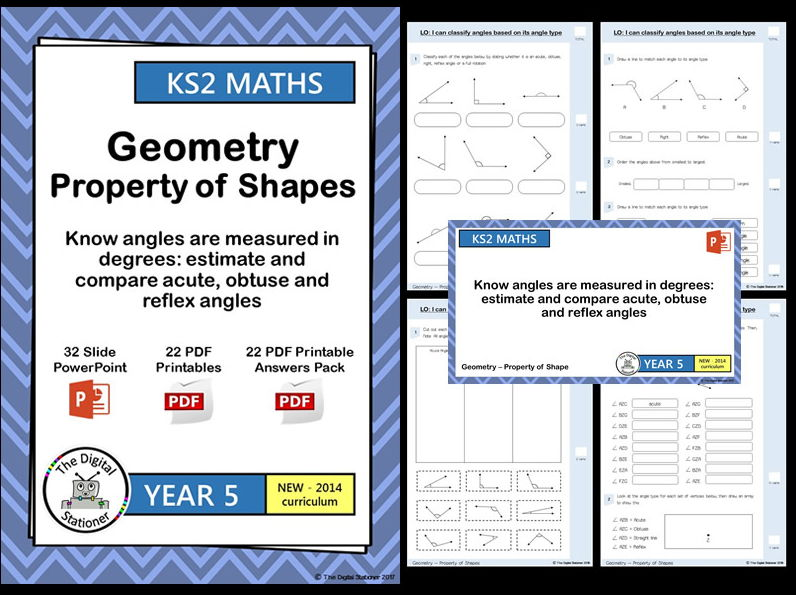 Year 5- Estimate, measure, compare acute, obtuse, reflex angles - Geometry White Rose (inc. MASTERY)