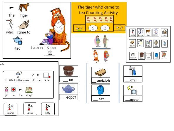 The tiger who came to tea:  story and activities widgit symbolised