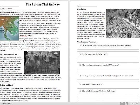Experience of POW's and the Thai-Burma Railway