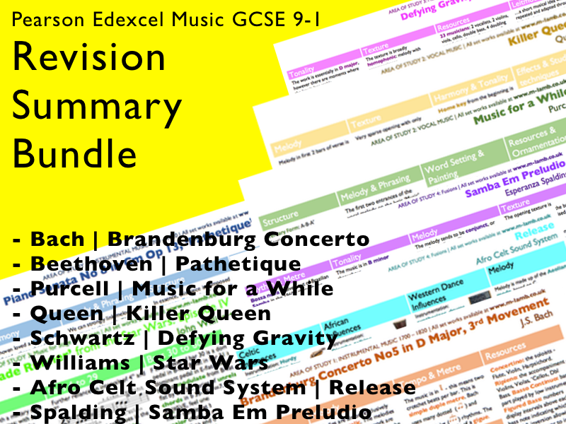 All set work knowledge organisers / revision summaries | Edexcel Pearson GCSE Music 9-1