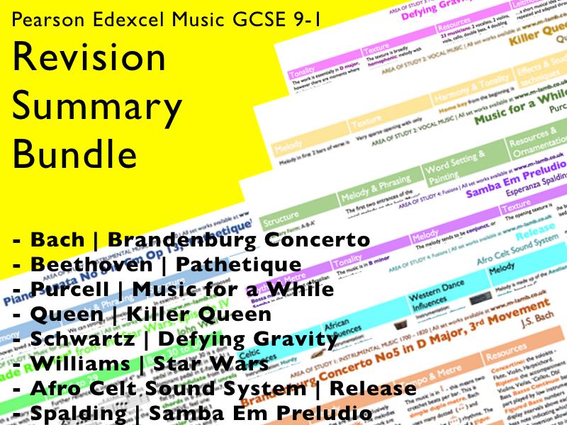 All set works revision summaries | Edexcel Pearson GCSE Music 9-1