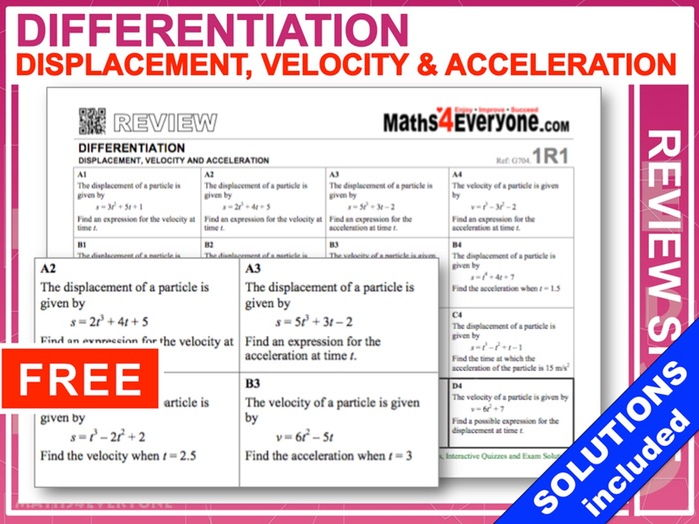 Differentiation (Displacement, velocity and acceleration)