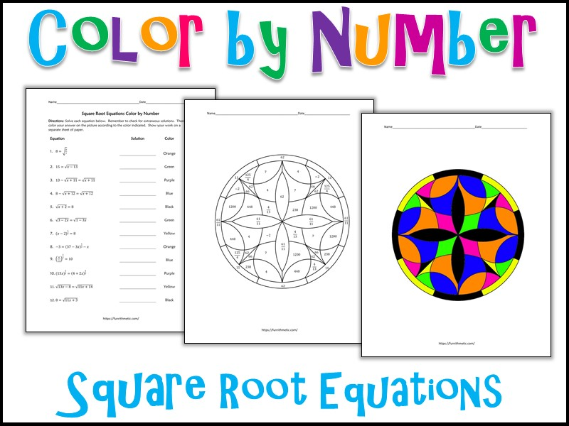 Square Root Equations Color by Number