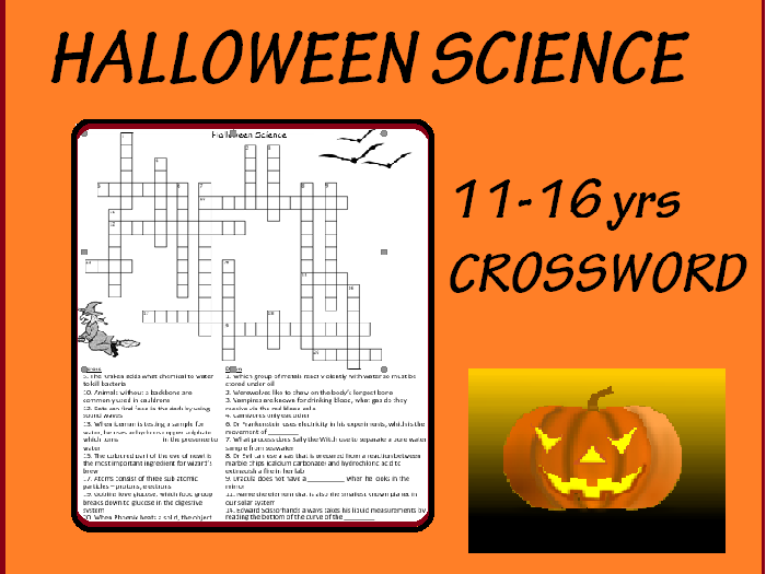 Science Halloween Crossword with ANSWERS