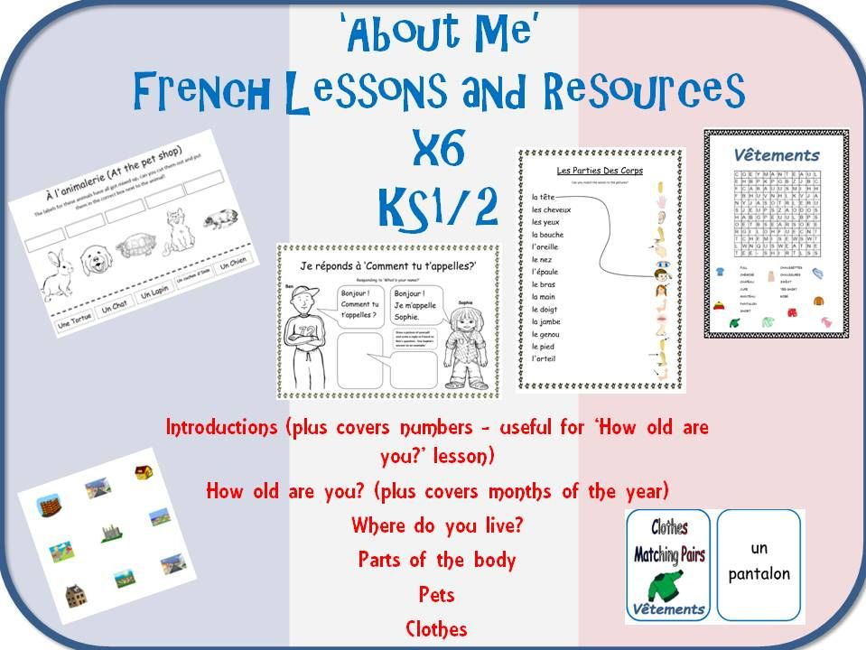 6 'All About Me' French Lessons and Resources Bundle KS1/2