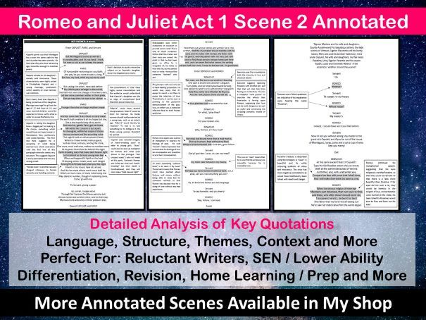 Romeo and Juliet Act 1 Scene 2 Annotated