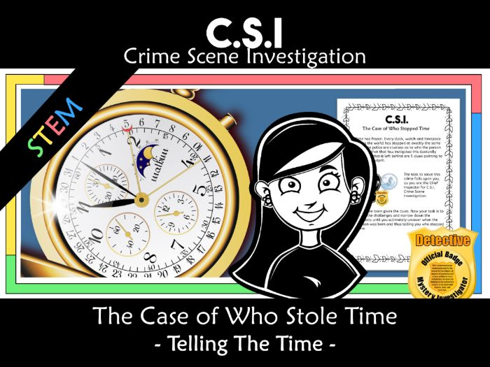 CSI: Math Murder Mystery - Who Stole Time  - Telling the Time