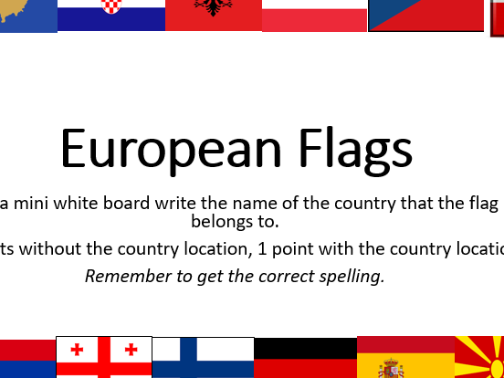 European Flags quiz, lesson or tutor time activity - master the flags (Grammar, Trivium)
