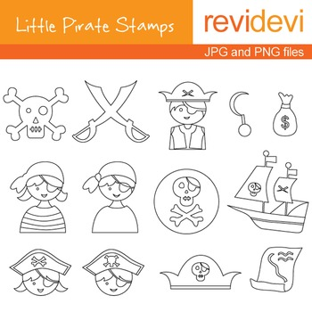 Line art Digital stamp - Little Pirate Stamps 07022 (coloring graphic clip art)