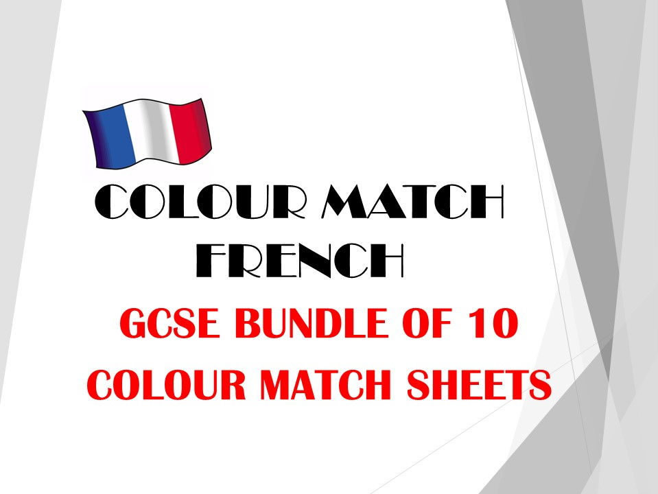 GCSE FRENCH colour match bundle 2