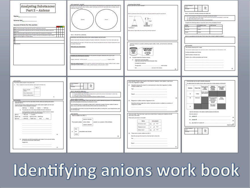 AQA GCSE Worksheet on identifying anions in solution including activities and exam questions