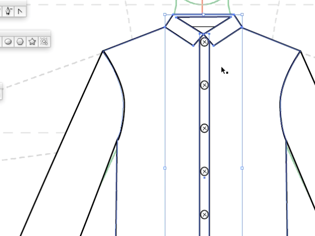 How to draw fashion flats - adding buttons to the placket