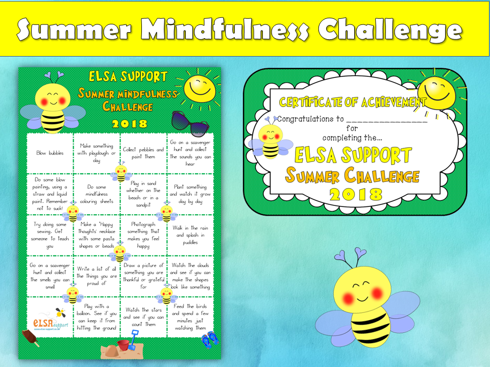 Summer Challenge and certificates, mindfulness, emotions, PSHE