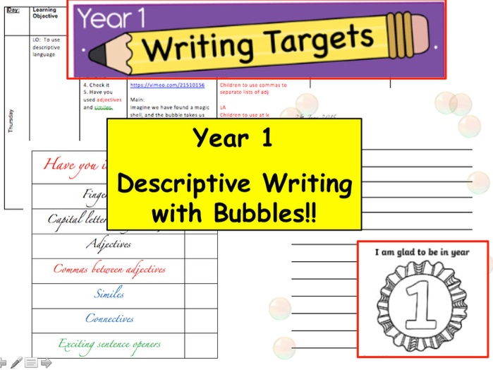 Year 1 / 2 Descriptive Writing with Bubbles (English, Creative Writing, Fiction, literacy Year 1)