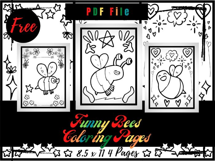 FREE Funny Bees Colouring Pages For kids, Printable Bugs & Insects Colouring Sheets PDF