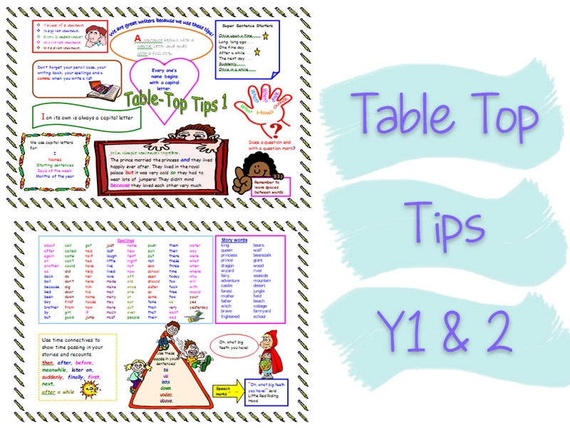 Double-sided Table Top Tips for Y1 & 2