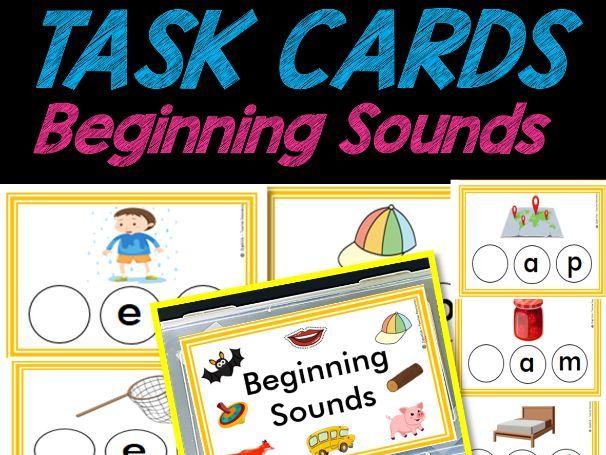 Beginning Sounds TASK CARDS | Phonics | Easy PREP | Pre-k & Kindergarten