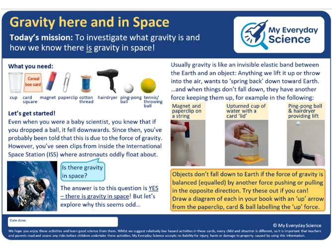 Y5 Forces My Everyday Science Cards