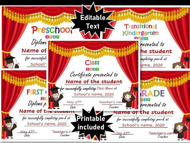 Virtual Graduation Certificates & Ceremony| Pre-K, TK, Kindergarten to 8th Grade
