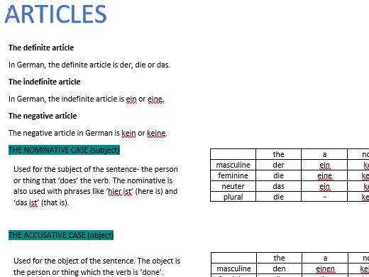 GCSE GERMAN ARTICLES