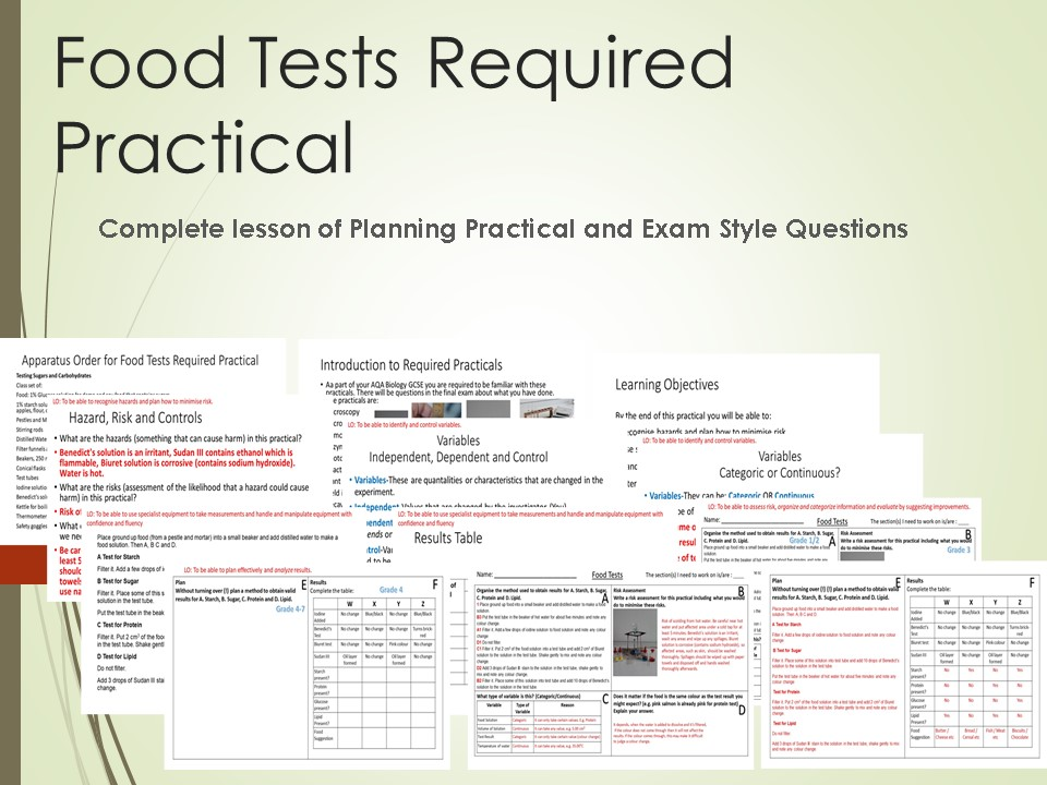 Food Tests Required Practical Lesson