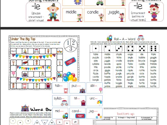 Consonant -Le Word Work Phonics