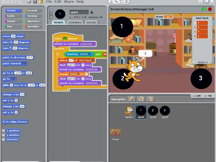 Scratch Lists - Introduction to using Arrays - Library Game