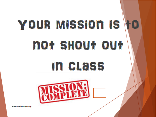 Secret Mission cards for behaviour and class cohesion
