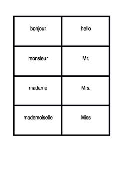 Salutations (Greetings in French) Concentration games