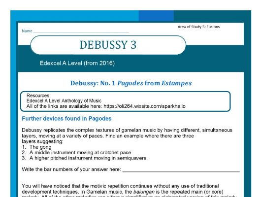 Edexcel Music A level (from 2016) Debussy worksheet 3 including Wider Listening