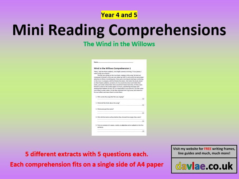 Mini Comprehensions - The Wind in the Willows - for Year 4 and 5 Children