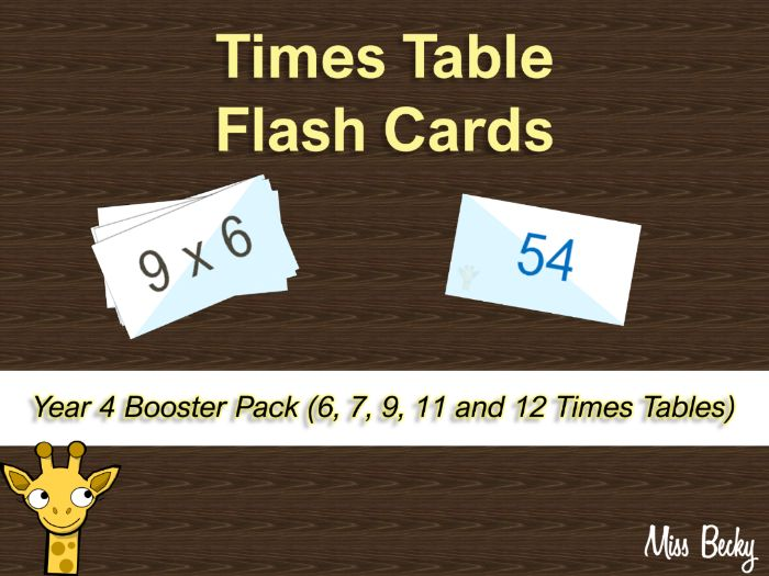 Times Table Flash Cards - Year 4 Booster Pack (6, 7, 9, 11 and 12)