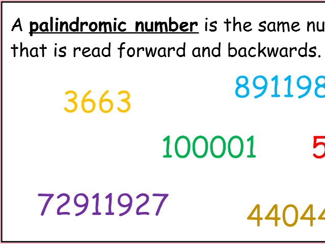 palindromic numbers by mizz happy