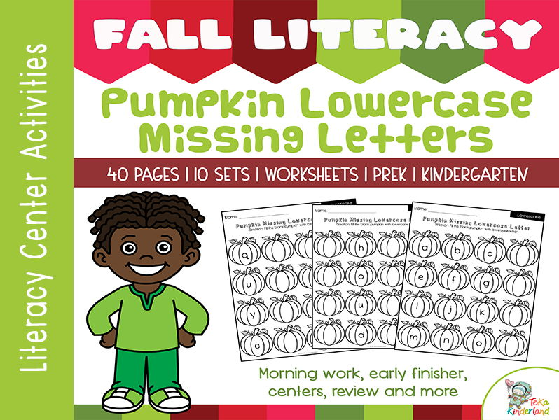 Pumpkin Activities Missing Lowercase Letter Worksheets NO-PREP | Fall Literacy