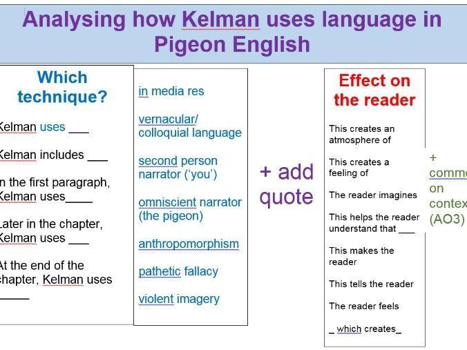 Pigeon English writing frame - AQA English Literature GCSE revision