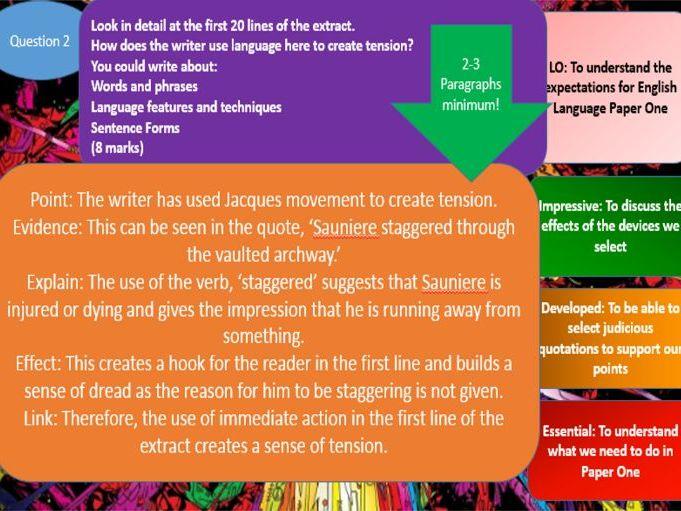 AQA GCSE Language Question 1-5 Scheme of Work on The Da Vinci Code