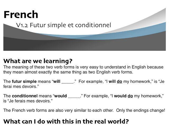 Futur simple and conditionnel