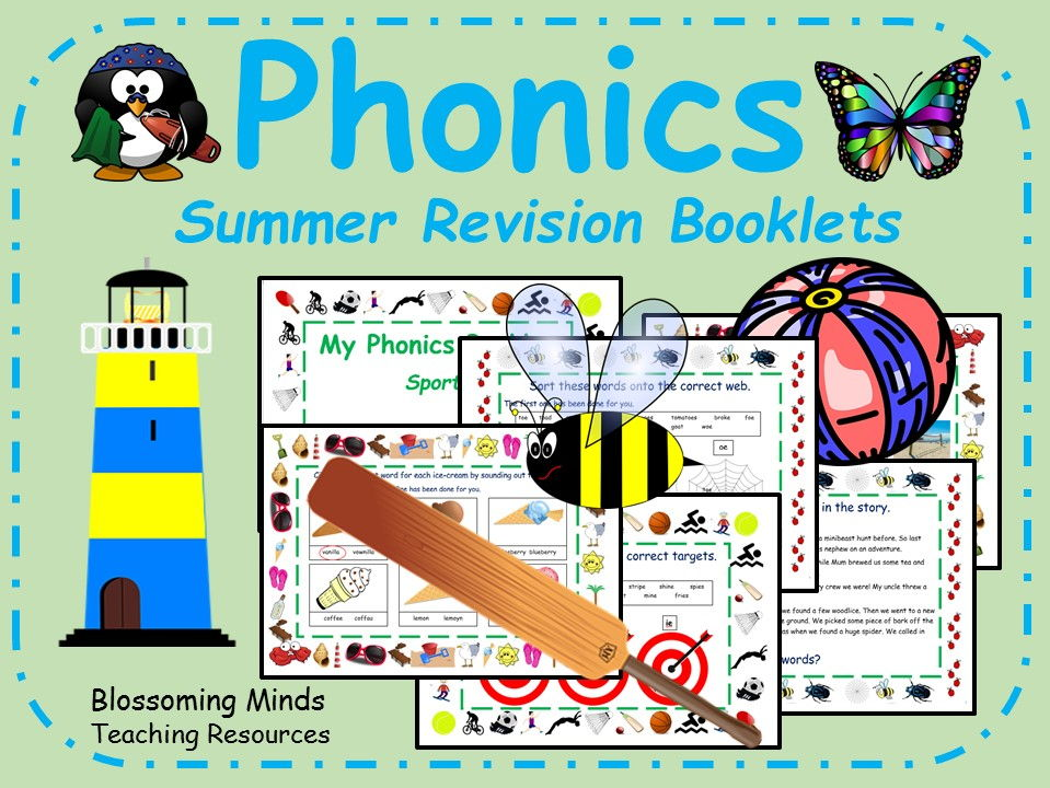 Summer themed phonics revision booklets