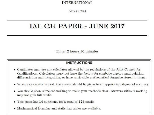 IAL C34 June 2017 QP
