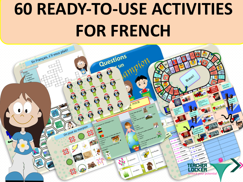 60 ready to use activities for French Teachers - Blank and Printable Included