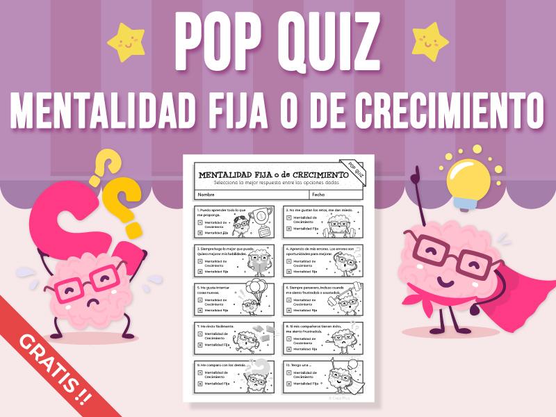 Pop Quiz - Mentalidad Fija o Mentalidad de Crecimiento FREEBIE - (SPANISH VERSION)