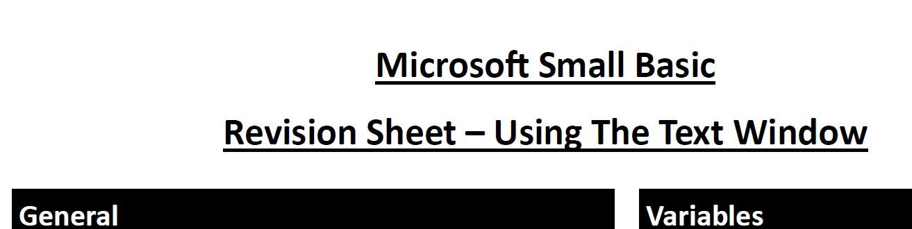 Microsoft Small Basic - Text Window Programming Revision / Help Sheet