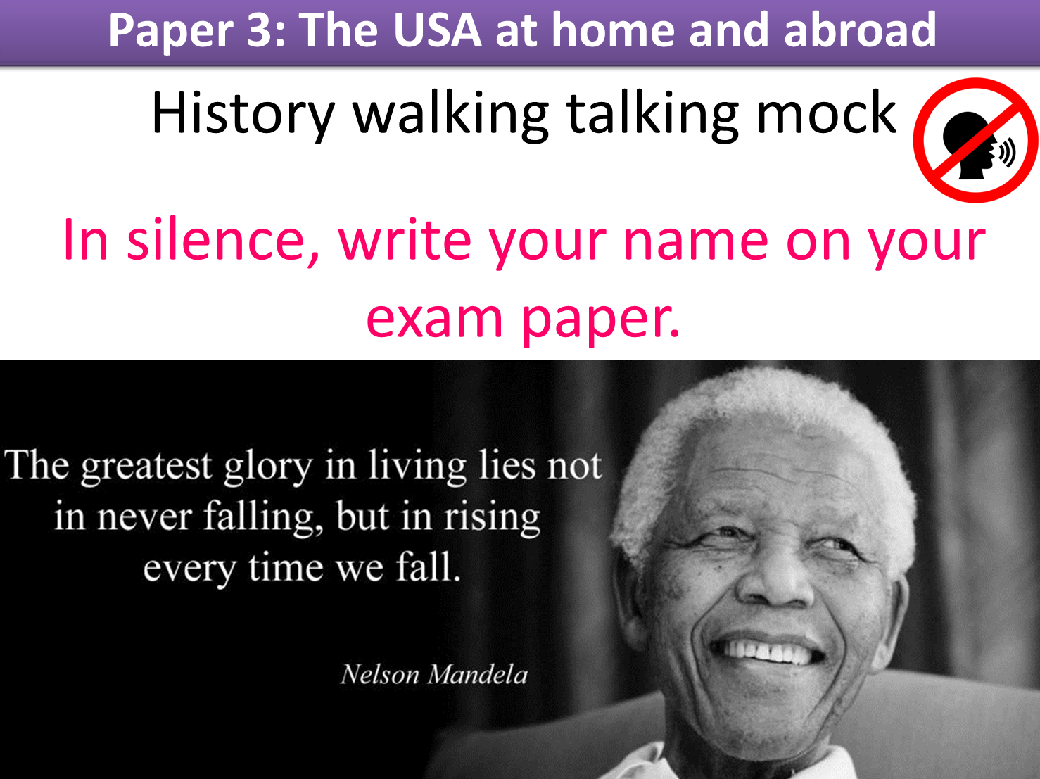 Mock Exams and a Walking Talking Mock: paper 3 Edexcel 9-1 GCSE History (USA at home and abroad)
