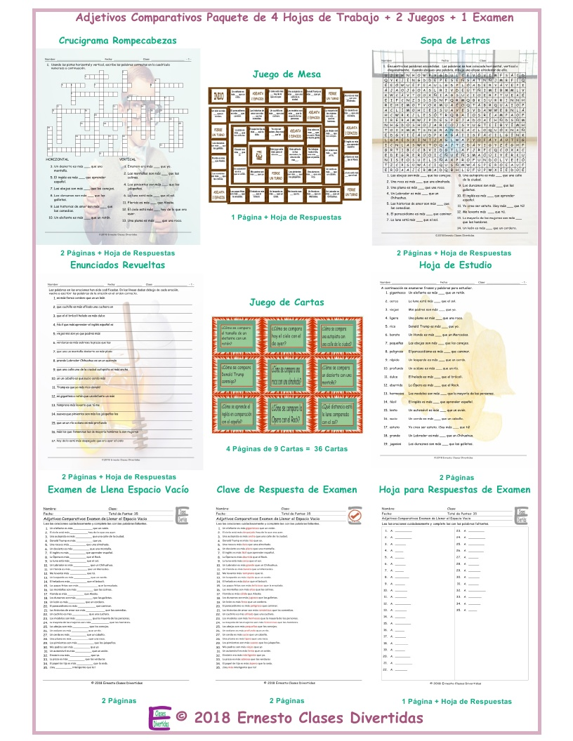 Comparative Adjectives Spanish Crossword Puzzle By Eslfungames