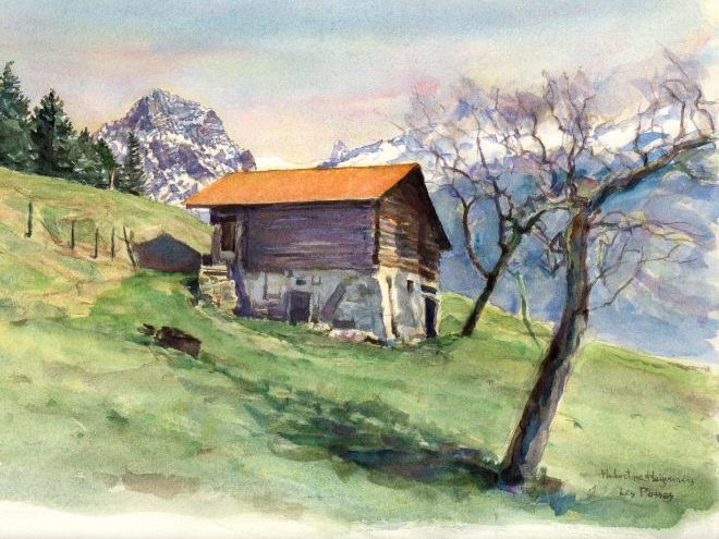 'Mountain-landscapes in Switzerland' in prints & watercolor-paintings; artist  Hubertine Heijermans