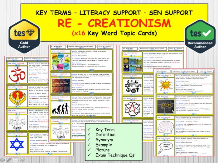 RE/ RS  - Creationism x16 Key term Topic Cards. Literacy Support. SEN Support.  How the world Began.