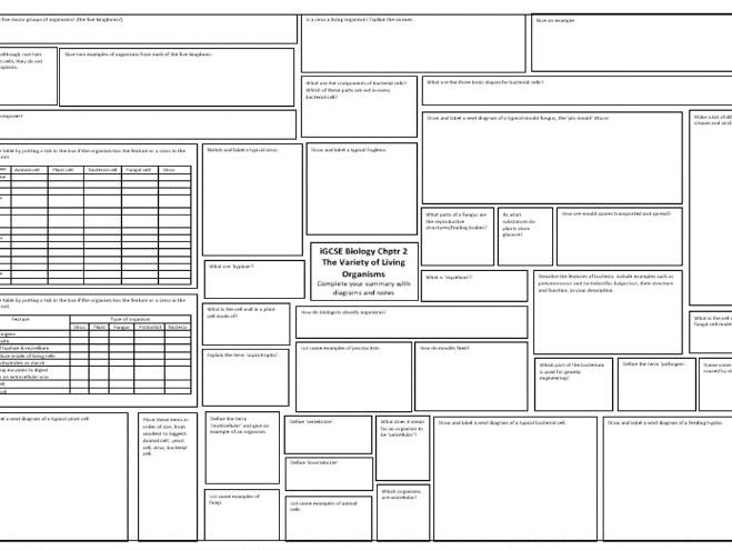 iGCSE Edexcel Biology Section A Chapter 1 & 2 Organisms and Life Processes Revision Mat Broadsheet