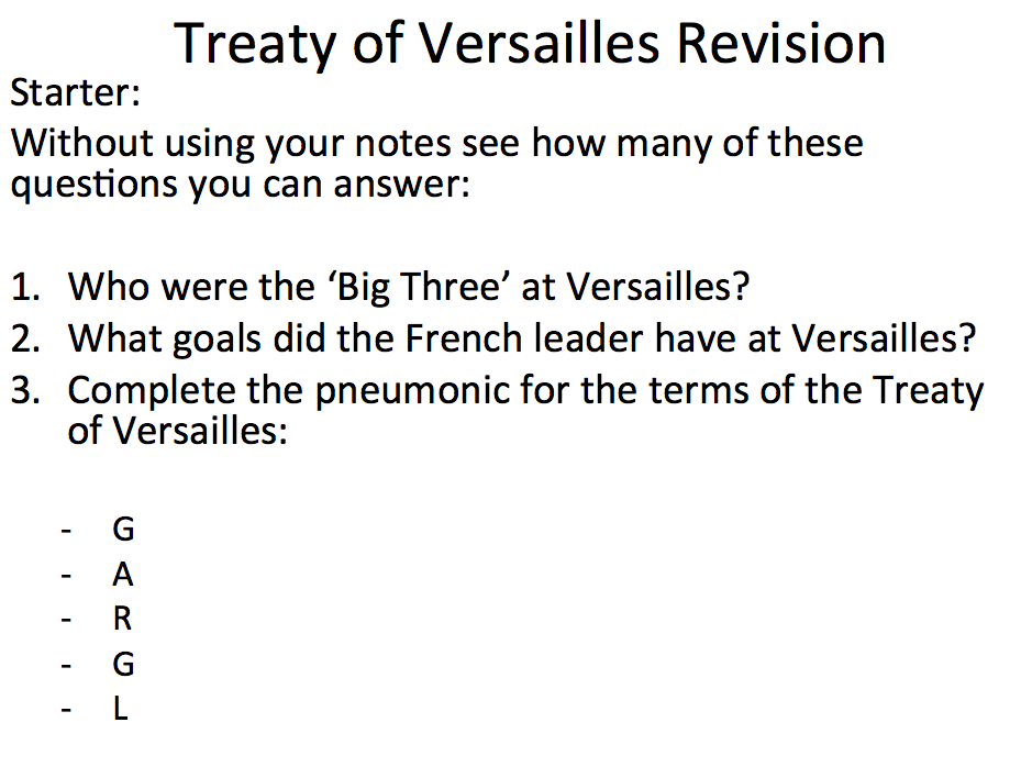 Treaty of Versailles - Revision lesson and exam question one pagers
