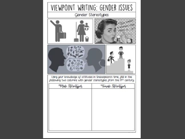 Viewpoint Writing Booklet: Gender Issues (KS3/KS4)